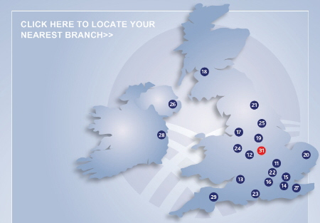 Map of the UK showing branches across the country.